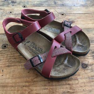 Birkis 37 Birkenstock Red Strappy Sandals Shoes